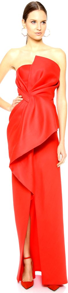 J. Mendel | cherry red strapless asymmetrical peplum evening gown | high fashion