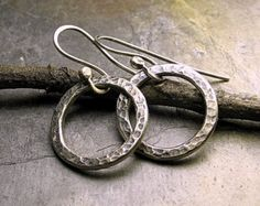 Sterling Silver Hoop Earrings Dangle  Little Wrapped Oh