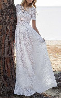 29351ed8aee3 Costarellos short Sleeve Cotton Lace Gown - boho bohemian lace wedding  dress - his allover cotton lace Costarellos gown features a jewel neckline