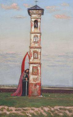 Wlastimil HOFMAN (1881 - 1970)  Przy kapliczce olej, płótno dublowane, 89 x 56 cm;