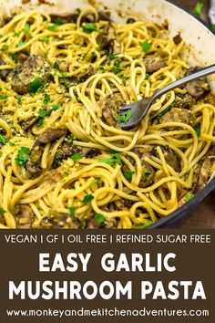 Easy Pasta Recipes, Veggie Recipes, Whole Food Recipes, Dinner Recipes, Garlic Mushrooms, Stuffed Mushrooms, Mcdougall Recipes, Vegan Party Food, Vegan Menu