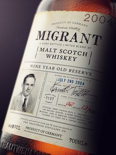 3D Migrant Whiskey Bottle by Antonio Luna, via Behance