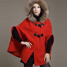 RLK Linen Fur Collar Coat  2108 Red,Blue – CAD $ 129.95