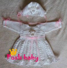 Baptism crocheted dress and bonnet