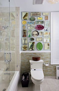 plate collection in bathroom. New York Powder Room - eclectic - bathroom - new york - Nirmada Interior Architectural Design
