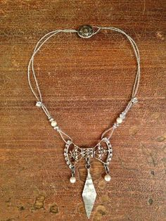 Necklace inspired by Art Nouveau period - repaired and upcycled delicate antique belt buckle into beautiful center piece.