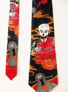 Halloween Necktie, Skeleton Pumpkin Ghost Witch, Comic Cartoon Necktie, Novelty Necktie, Happy Halloween by TomCatBazaar on Etsy