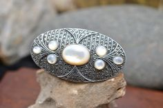 Sterling Silver Signed JUDITH JACK Heavy Oval Brooch Pin with Mother of Pearl and Marcasites