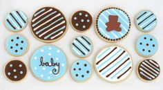 This weekend I made some blue and brown sweets for a friend's baby shower. Pretty cookies and cupcakes to help celebrate the baby boy to come. I made sugar cookies (recipe) decorated with royal icing (how-to's HERE) and cupcakes to match. The cupcakes were chocolate cake (recipe) with vanilla cream cheese frosting (recipe) and decorated …