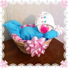 Diaper baby in a basket