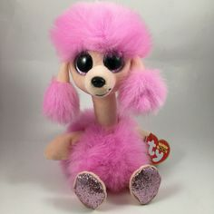 From the Ty Beanie Baby Boos collection. I'll model for you - draw a pink poodle! Ty Stuffed Animals, Ty Bears, Ty Beanie Boos, Pink Poodle, Camilla, Pet Toys, Plush, Teddy Bear, Cute