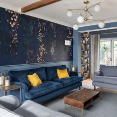 Look how spectacular our Alwinton sofa is, sitting proudly in this living room styled by Anna. Can you picture it in your home?  Visit us in-store for more inspiration or shop online.  #sofasandstuff #interior #interiors #interiordesign #interiordesigns #interiordesigner #sofa #sofas #britishsofa #handmadesofa #bespokesofa #bluesofa #velvetsofa #bluevelvetsofa #bluevelvet #blueinterior #bluehome #blueinteriors #blueinteriordesign Navy Living Rooms, Blue Living Room Decor, Living Room Color Schemes, Living Room Sofa, Home Living Room, Living Room Designs, Blue And Mustard Living Room, Blue And Gold Living Room, Room Colors