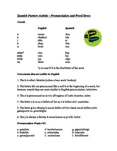 Spanish pronunciation worksheet la pronunciacin pinterest a guide to spanish pronunciation and word stress as well as 3 partner practice exercises to improve pronunciation of individual letters and words spiritdancerdesigns
