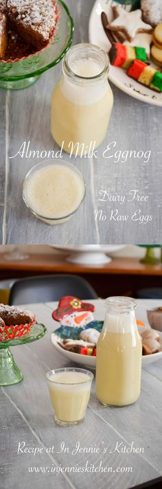 This Almond Milk Eggnog is a delicious dairy-free twist on a classic holiday drink. Bonus, there are no raw eggs. Get the recipe at In Jennie's Kitchen. Holiday Drinks, Holiday Recipes, Christmas Recipes, Holiday Crafts, Holiday Foods, Christmas Treats, Christmas Time, Egg Recipes, Cooking Recipes