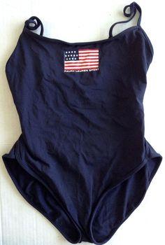 Ralph Lauren Sport American Flag Swimsuit Maillot One Piece Navy Blue Size S #RalphLauren #OnePiece