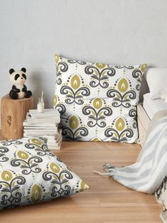 Stylised playful flowers with white background  Floor Pillows