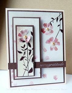 Pretty designer paper does most of the work on this handmade thank you card. Following a sketch, use white and chocolate cardstock along with foam tape. One flower was given lose petals by cutting one out with a hobby blade.