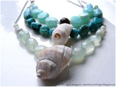 Fresh Breeze Necklace, Natural White Shell, Pale aqua blue chalcedony, Blue amazonite, Stainless Steel, OOAK by OceanHue on Etsy