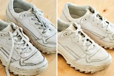 How to Clean White Shoes   Apartment Therapy Remove Rust Stains, How To Remove Rust, How To Clean White Sneakers, Clean White Leather, White Canvas Shoes, Mesh Laundry Bags, Brown Shoe, Leather Sneakers, Your Shoes