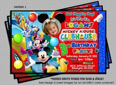 Items similar to Mickey Mouse Clubhouse Birthday Invitations -Includes a FREE Thank You Card -DIY Digital File -You Print on Etsy Mickey Mouse Clubhouse Birthday Party, First Birthday Party Themes, Mickey Mouse Parties, Mickey Birthday, Mickey Party, 1st Boy Birthday, Birthday Ideas, Free Online Birthday Invitations, Photo Invitations