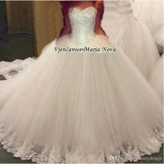 2016 Bling Sexy Strapless Ball Gown Wedding Dresses Silver Beaded Sleeveless…