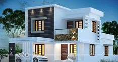 1580 sqft 4 bedroom modern house plan is part of Kerala house design - 4 bedroom flat roof modern style beautiful house plan in an area of 1580 square feet by Dream Form from Kerala 2 Storey House Design, Duplex House Design, Duplex House Plans, House Front Design, New House Plans, Small House Design, Small House Plans, House Design Plans, 4 Bedroom House Plans