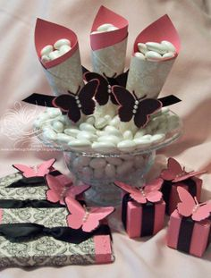 Pink, Black, & White Butterfly Wedding Favors