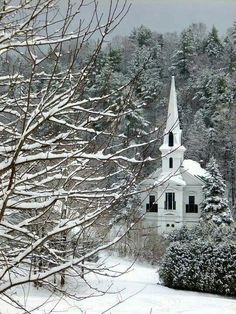 Old Country Small Church in the Winter snow.