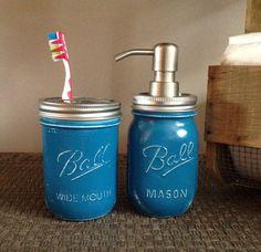 Mason Jar, Deep Teal, Bath Set,  Beach / Farm House Decor, Bath Accessories, Talona Rustics,