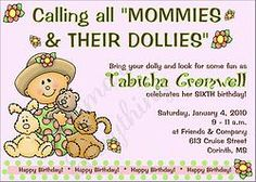Mommies & Dollies Birthday Party Invitations