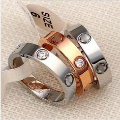 Любителей 18k золото обшивки циркон аксессуары класса люкс дизайнерский бренд Картер любовь кольцо палец 2016 ювелирные bague кольца для женщин мужчины ювелирные изделия подарок
