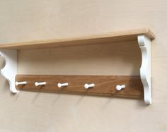 Solid Wood Coat Rack With Shelf and 3 Antique by FurnitureThatFits