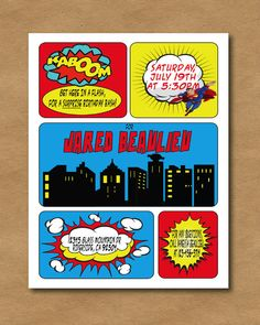 Superman Comic Book Invite by PicadillyPrints on Etsy