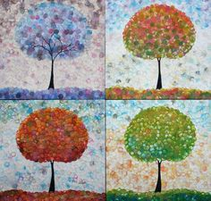 Encaustic trees by Carrie Goller Art Projects, Projects To Try, Project Ideas, Four Seasons Painting, Art For Kids, Crafts For Kids, Family Room Walls, Pointillism, Encaustic Painting
