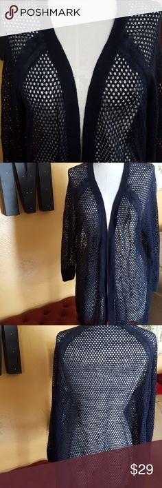 JUST IN🔶️Cynthia Rowley Summer Linen Cardi Gorgeous gently used navy linen open cardigan.  Bust measures 24in across.  Lightweight, soft. No snags or pulls. Cynthia Rowley Tops