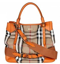 Burberry Tangerine Vintage House Check Large Canvey Bag. 