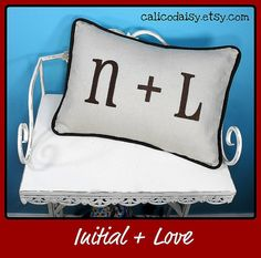 Initial Love  Embroidered Pillow Cover   12 x 16 by calicodaisy, $30.00