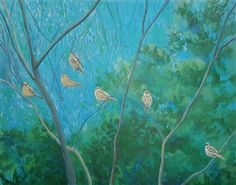 Sparrows<br />Acrylic on Canvas, Paintings