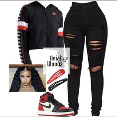 Basic red+white school fit❤️🖤 Source by Outfits black girl Baddie Outfits For School, Baddie Outfits Casual, Swag Outfits For Girls, Cute Teen Outfits, Teenage Girl Outfits, Teen Fashion Outfits, Teenager Outfits, Dope Outfits, Trendy Outfits