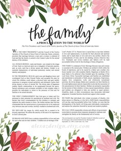Alexa Z Designs-she has the cutest art prints! The Family Proclamation - Hand lettered Floral LDS Wall Art Print Mormon Quotes, Lds Mormon, Lds Quotes, Family Proclamation, Lds Art, Church Quotes, Lds Church, Scripture Study, Art Prints Quotes
