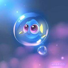 Fan art baby Dory in bubble Disney Pixar, Arte Disney, Disney Fan Art, Disney Animation, Disney And Dreamworks, Disney Cartoons, Disney Magic, Baby Disney Characters, Animation Movies