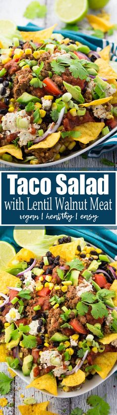 This vegan taco salad with lentil walnut meat and cashew sour cream is just perfect for Taco Tuesday! And the best thing is that it's super healthy and packed with protein!! Find more vegetarian recipes at veganheaven.org <3