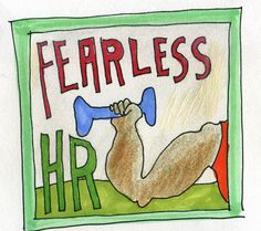 fearless hr guy with barbell badge