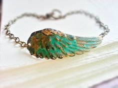 Patina Angel Wing Bracelet Antiqued Brass Chain Patina Jewelry Half Cuff Angel Wing Bracelet Patina Bracelet Rustic Patina Boho Chic Jewelry on Wanelo