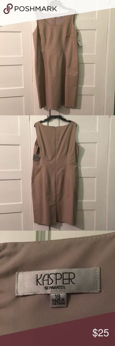 "NWT Khaki Shift Dress Brand new, never worn! Smoke free and cat friendly home. 41"" long. 23"" across chest. 24"" across hips. Kasper Dresses"