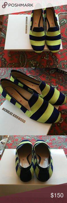 Nicholas Kirkwood flats If you are a true 8 or 8.5 then these are for you. Bright green and navy blue Nicholas Kirkwood flats. Super fun! Nicholas Kirkwood Shoes Flats & Loafers