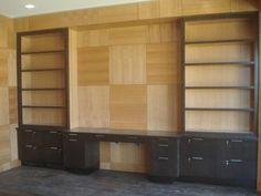 Home Office Wood Panel Wall with Built in Millwork