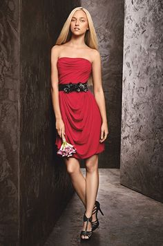Red bridesmaids' dress from WHITE by Vera Wang, available in more colors at David's Bridal {Available in sizes up to 26}