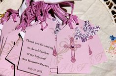 Custom order- Baptism Tags Gift Tags Easter Favor Tags Shower Favor Tags Labels Hang Tags-Vintage Lavender. Butterfly set of 30