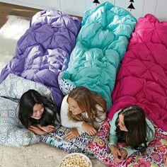 Pin Tuck Sleeping Bag + Pillowcase, Merry Words | PBteen